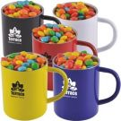 Chewy Fruit Candy in a Steel Mug