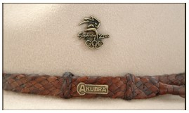 akubra hat with custom badge