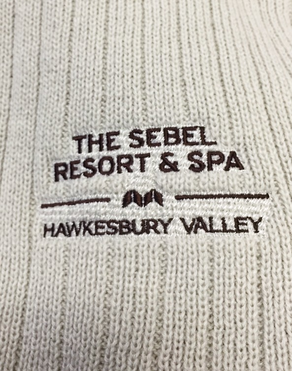 logo embroidery on promotional scarf